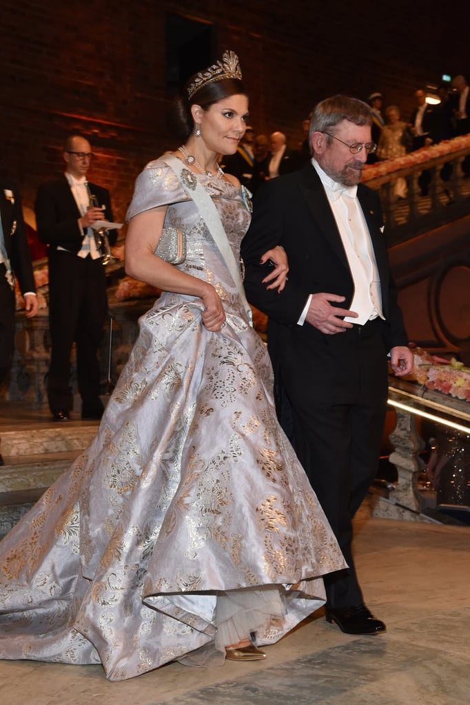 Crown Princess Victoria Wore a Metallic Printed Off-the-Shoulder Gown