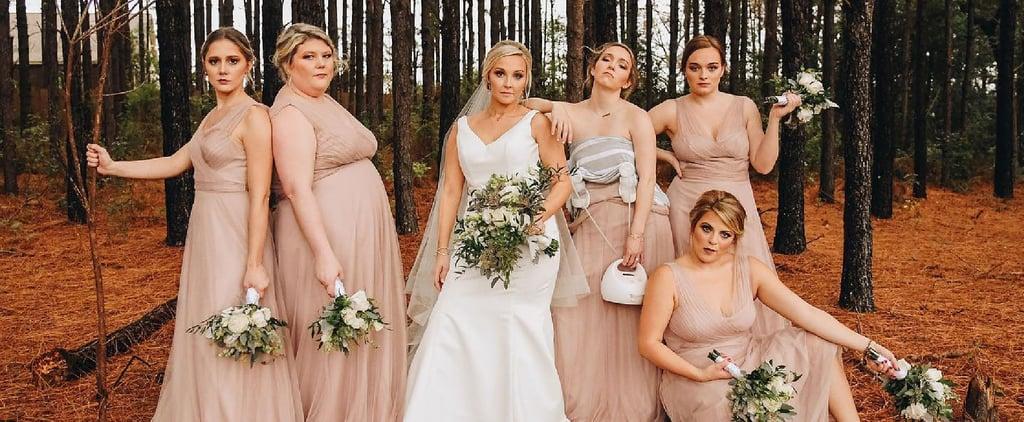 Wedding Photo of Bridesmaid Wearing Breast Pump