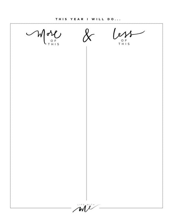 Download: Life With Me More & Less Sheet