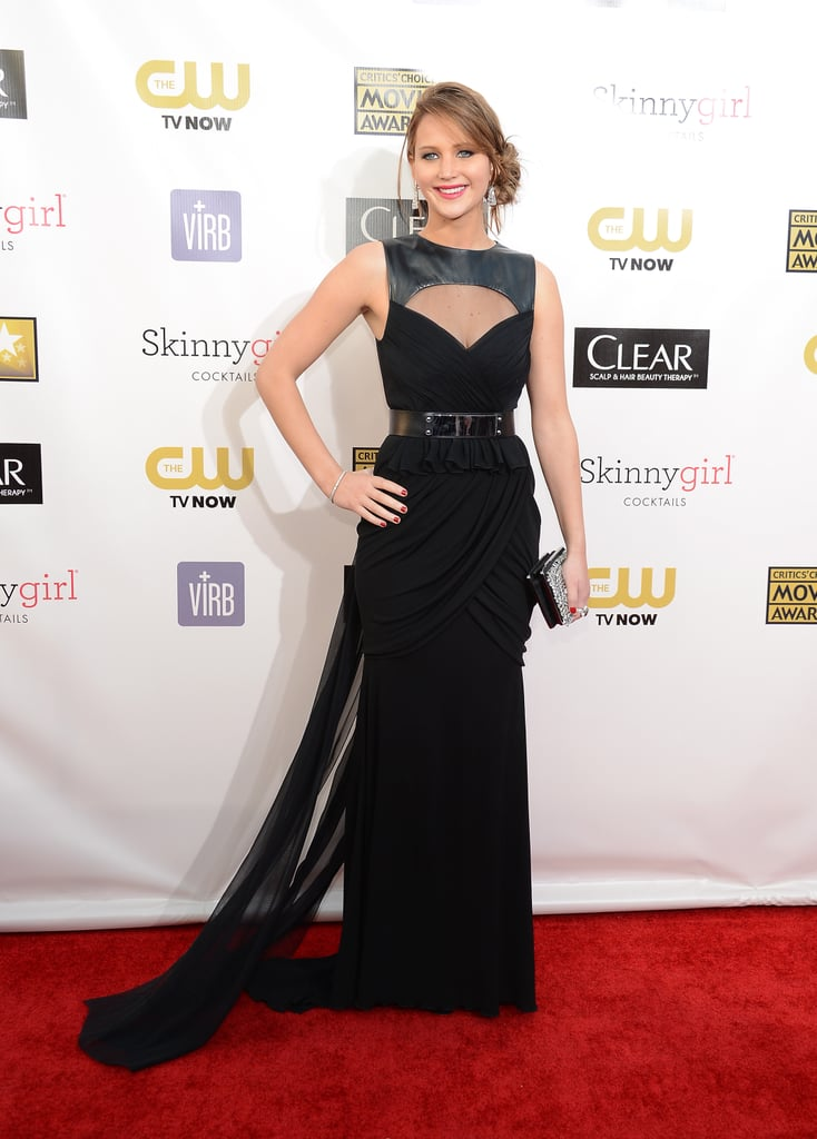 Jennifer Lawrence chose a dramatic Prabal Gurung look for the Critics'  Choice Awards.