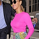 Beyoncé stepped out in NYC in a brightly colored Spring outfit.