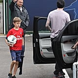 David Beckham left a Paris Saint-Germain training center with Romeo Beckham on Saturday.