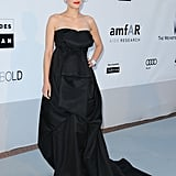 Marion Cotillard also opted for a long black gown, though hers was the most voluminous.