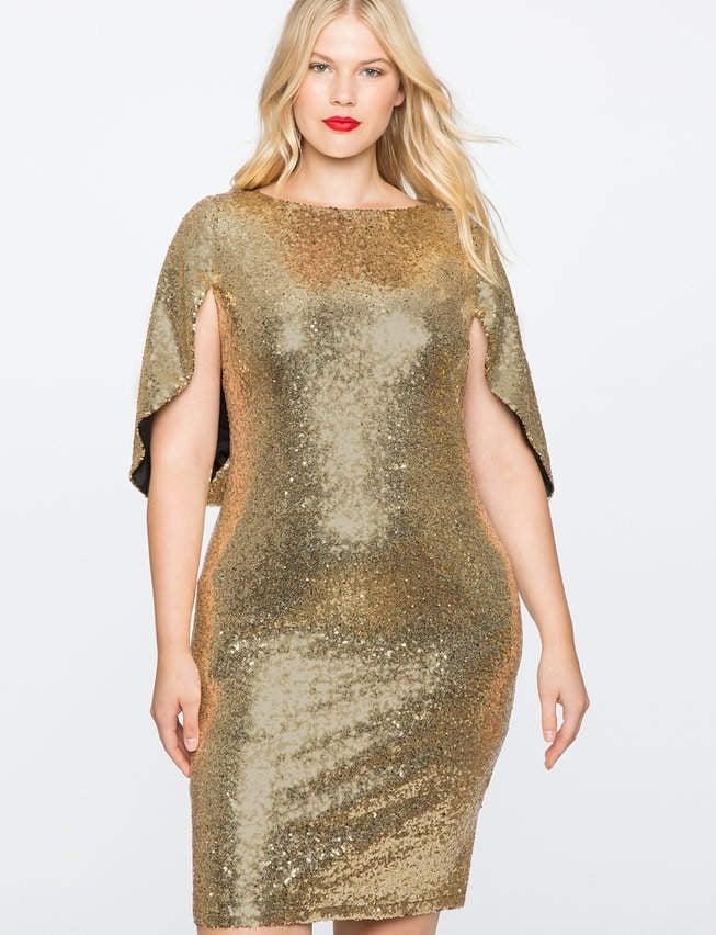 ELOQUII Sequin Cape Dress