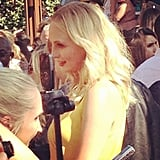 Candice Accola chatted with press. Source: Instagram user popsugar