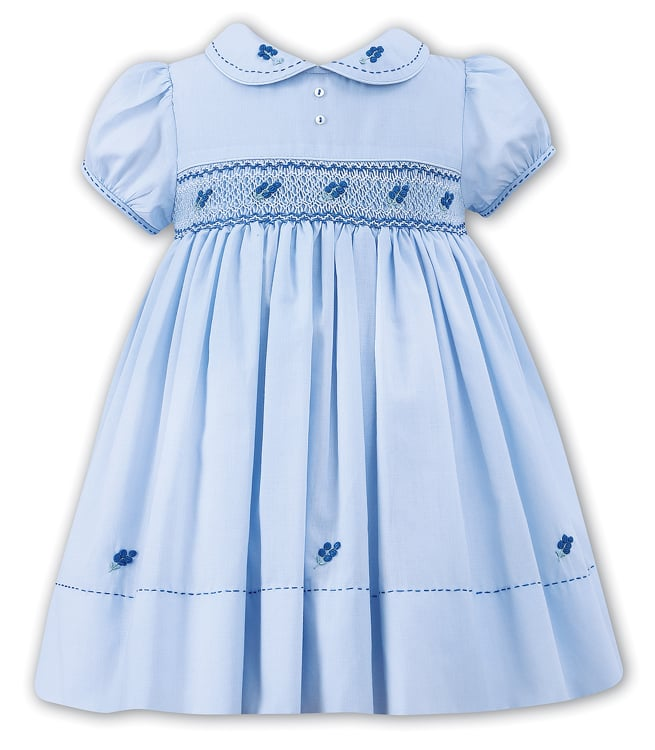 Sarah Louise Baby/Toddler Girls Blue Smocked Dress With ...