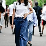 Wide-Leg Trousers + Throwback Sneakers