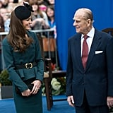 The Duchess of Cambridge and the Duke of Edinburgh smiled at each other during a visit to Leicester on March 8, 2012.