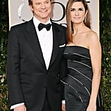 Colin Firth and wife Livia Giuggioli keep close.