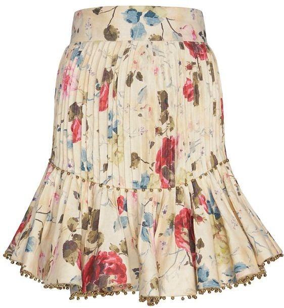 Zimmermann Embellished Flare Floral Print Skirt ($875)