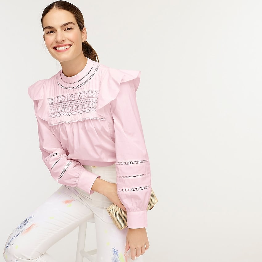 J. Crew Crocheted Lace Ruffle Top