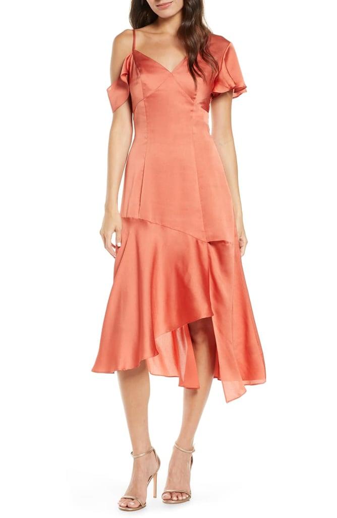 Chi Chi London Emmett Asymmetrical Satin Cocktail Dress