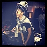 Rihanna sported a new hairstyle and played dress-up in Oakland Raiders gear.  Source: Instagram user badgalriri
