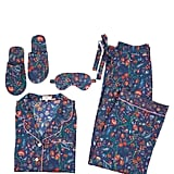 Liberty London Christmas Print Tana Lawn Cotton Pyjamas, Slippers And Eye Mask Set