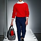 And This Red Sweater and Navy Tailored Pants Pairing