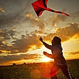 In the Czech Republic, a little boy took advantage of the crisp Fall weather by flying a kite.