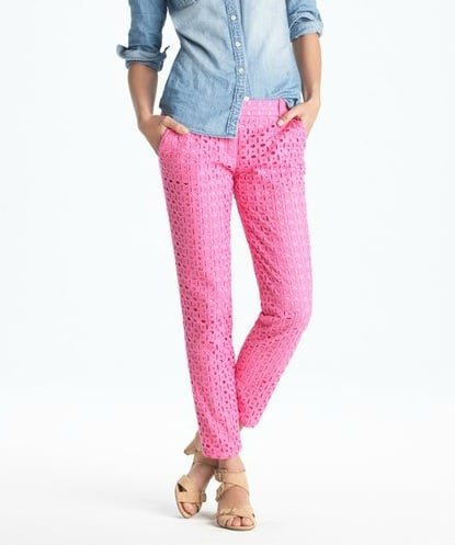 We adore the pink hue and intricate eyelet detailing.  J.Crew Café Capri in Ultra Eyelet ($158)
