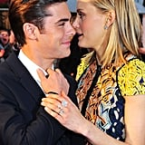 Zac Efron chatted with Taylor Schilling at the premiere of The Lucky One in London.
