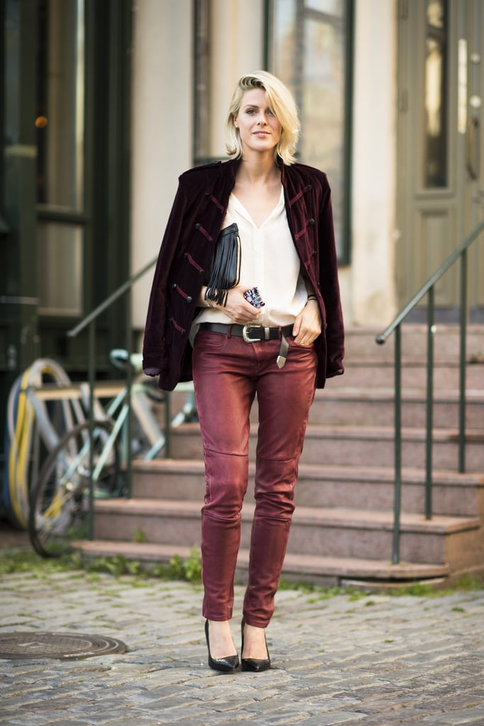 Understated separates say rocker chic when they're finished in leather and velvet. Source: Le 21ème | Adam Katz Sinding