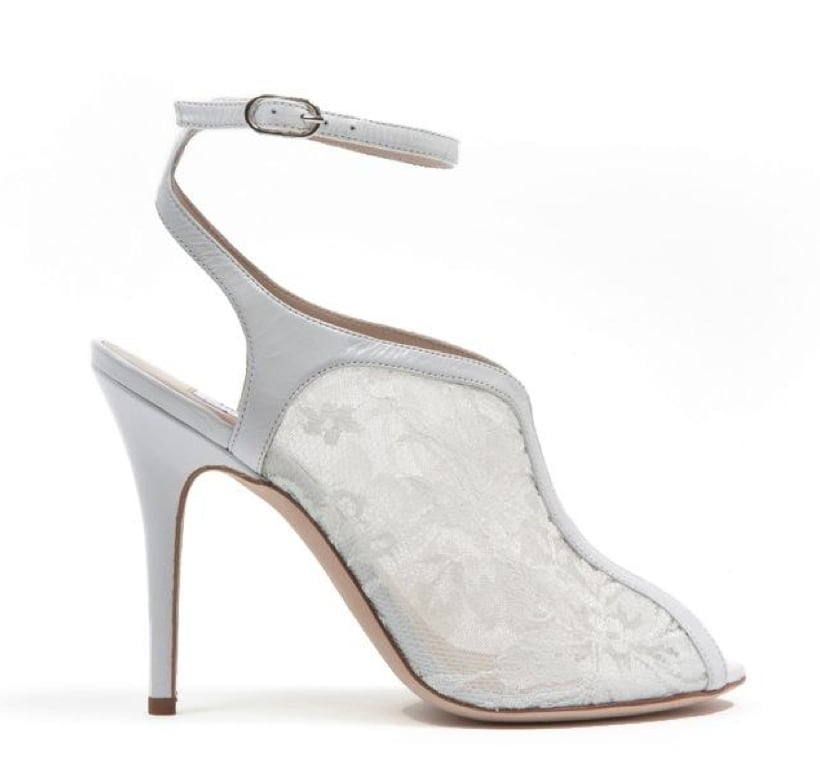 Monique Lhuillier White Lace Over Mesh Sandal ($845)