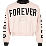 River Island Girls Pink Forever Sweatshirt