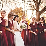 These six bridesmaids at this Star Wars-themed wedding wore different styles of maroon dresses — and carried lightsabers instead of bouquets.