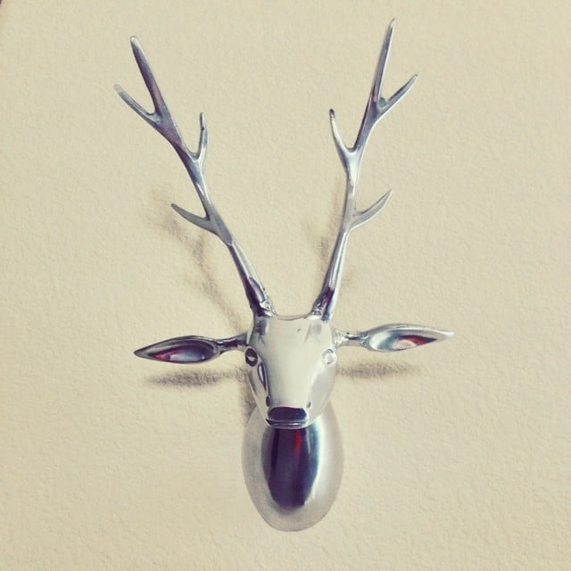 The find: a metallic mounted stag's head that's animal-friendly and easy on the eyes.