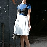 Glamour's Christina Pérez cleverly layered a bustier top over a tee.