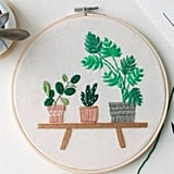 Modern Flower Plant Hand Embroidery Full Kit