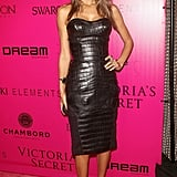 Alessandra Ambrosio walked the pink carpet.