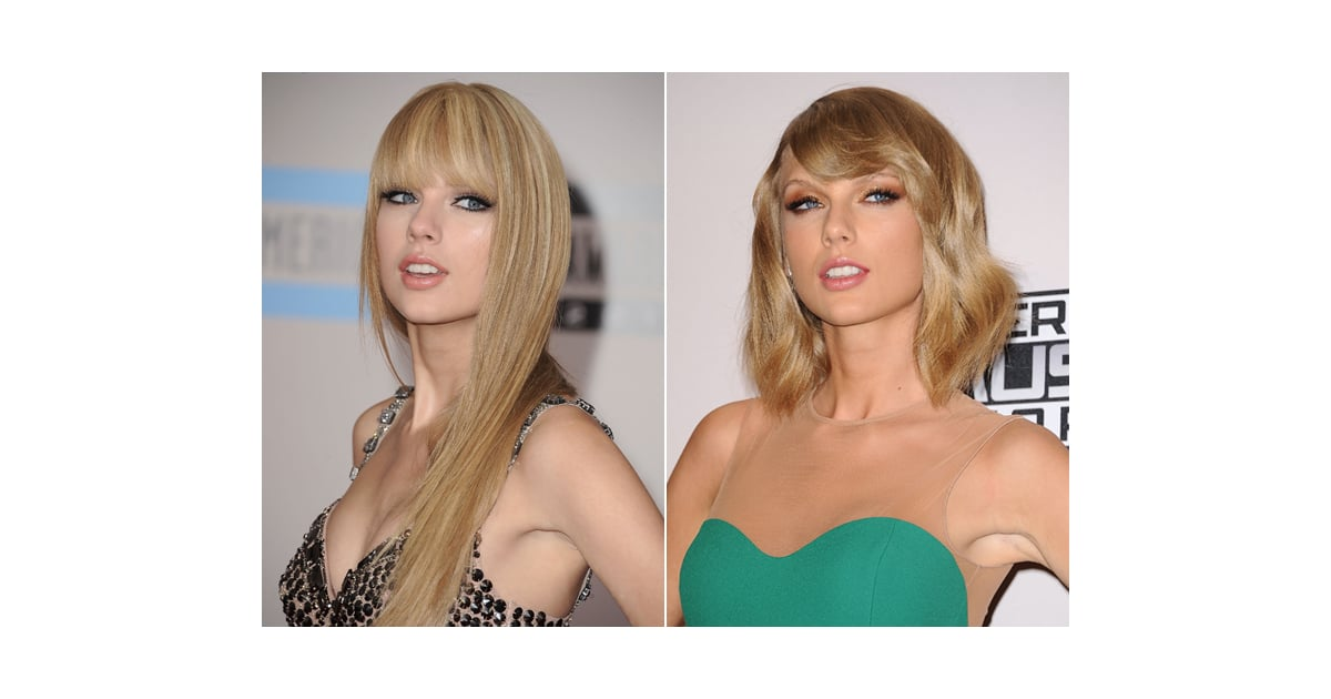 taylor swift long hair and blunt bangs to lob with side