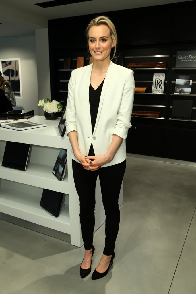 Orange Is the New Black star Taylor Schilling wore a crisp, white blazer.