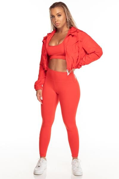 Knockout Collection Cropped Jacket in red/white/silver