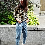 Easy Outfits: A Leopard-Print Sweater, Jeans, Mules, a Bag, and Sunglasses
