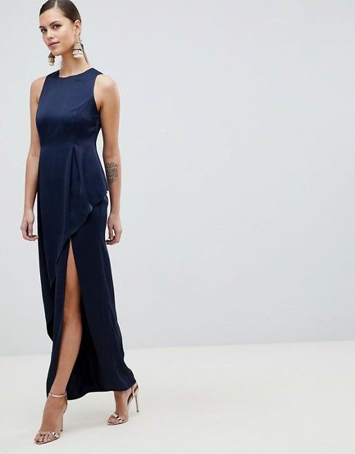 ASOS Satin Maxi Dress With Asymmetric Layered Skirt