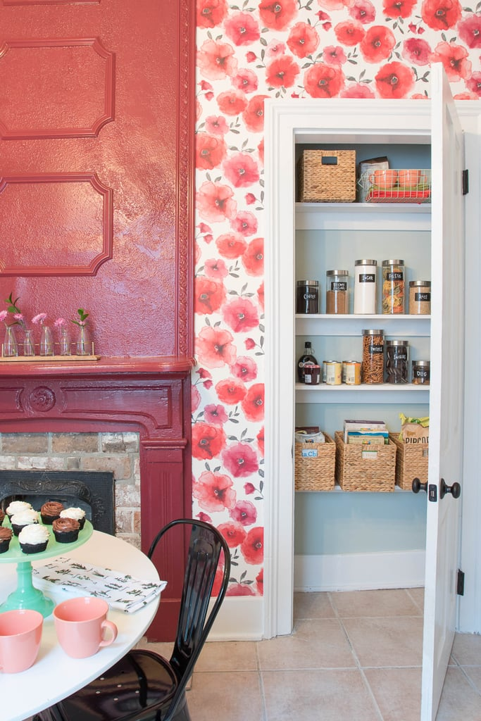 "No kitchen is complete without an organized pantry, and this one is real eye candy. Monica created subtle contrast with ""Sea Salt"" paint. Then, she made it easy to keep food organized by adding storage, such as woven baskets ($11) and glass jars with chalk board labels."