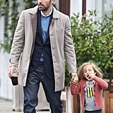 Ben Affleck held Seraphina's hand on the way to breakfast.