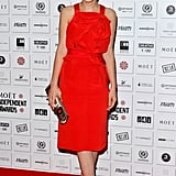 Carey co-ordinated her Prabal Gurung outfit with the red carpet for the British Independent Film Awards.