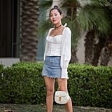 Dress Up a Laid-Back Denim Skirt With a Corset Blouse