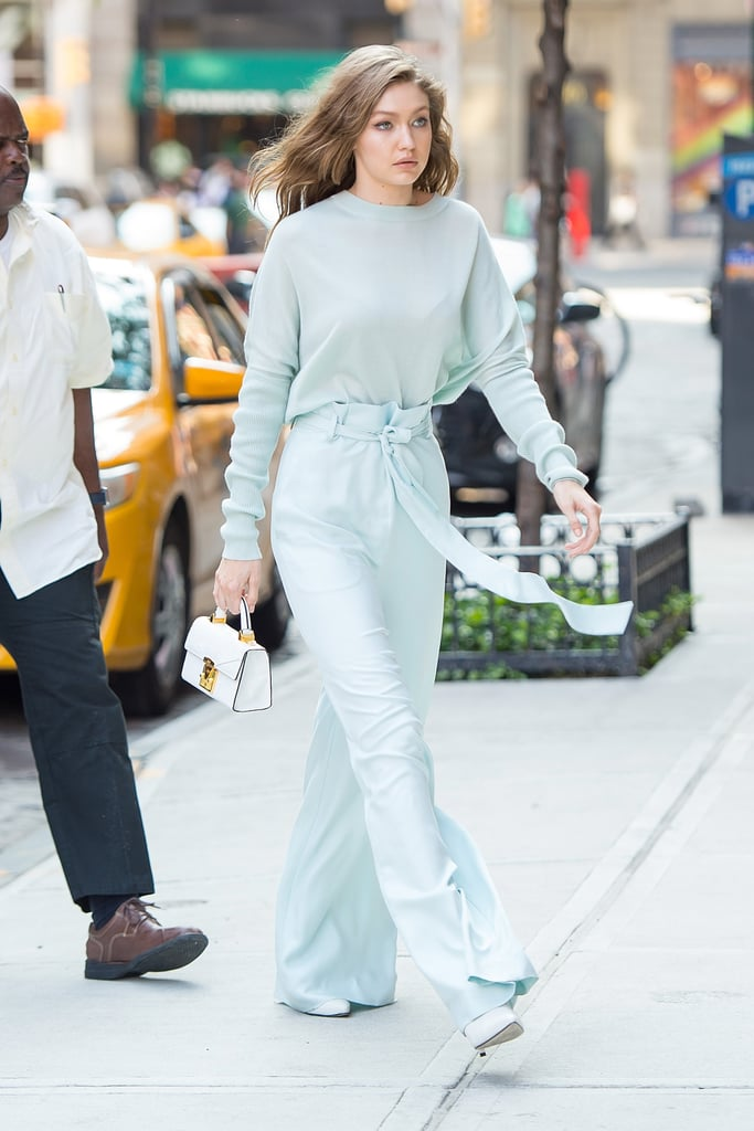 The model's Sally LaPointe outfit was as blue as the sky and it worked magically with her all white accessories.