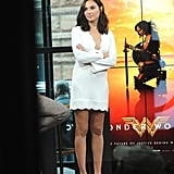 For another appearance in New York City, the superhero rocked a stunning, long-sleeved, white A.L.C. dress with embellished peep-toe flats.