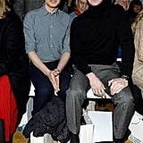 Simon Amstell and Andrew Garfield at the Central Saint Martins MA Show