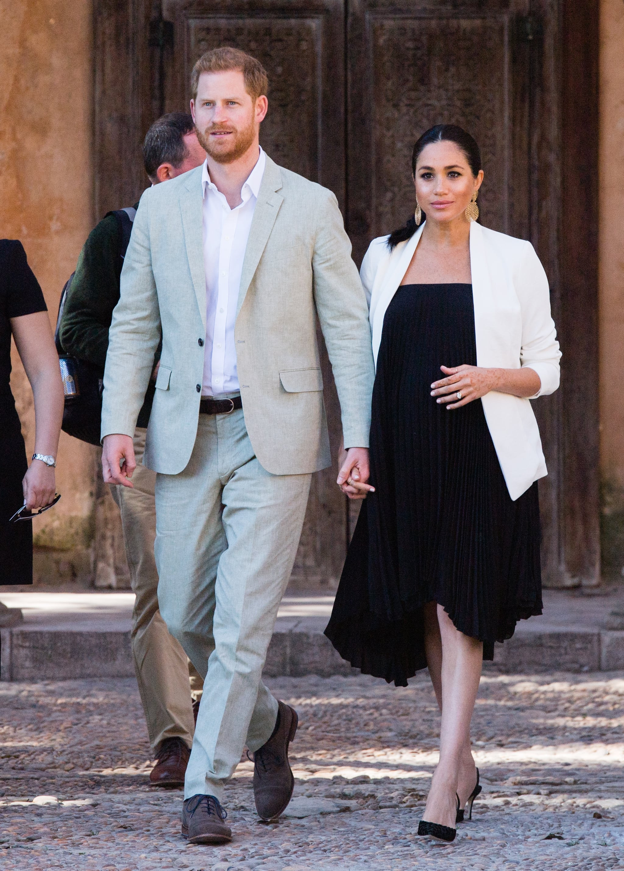 RABAT, MOROCCO - FEBRUARY 25:   Prince Harry, Duke of Sussex and Meghan, Duchess of Sussex visit the Andalusian Gardens to hear about youth empowerment in Morocco from a number of young social entrepreneurs on February 25, 2019 in Rabat, Morocco.  (Photo by Samir Hussein/WireImage)