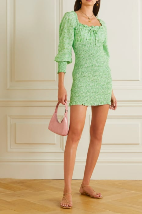 Faithful the Brand Net Sustain Cosima Shirred Floral-Print Crepe Mini Dress ($219)