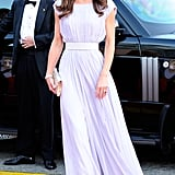 Alexander McQueen in LA: Kate ended the tour on a high note for a black tie event in Downtown LA. Her pale lilac evening gown was perfectly teamed with silver glitter Jimmy Choo 'Vamp' shoes and Jimmy Choo 'Ubai' clutch, along with diamond earrings on loan from the Queen and a diamond bracelet which had been a wedding present from Prince Charles.