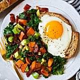 Sweet Potato, Kale, Bacon, and Avocado Hash