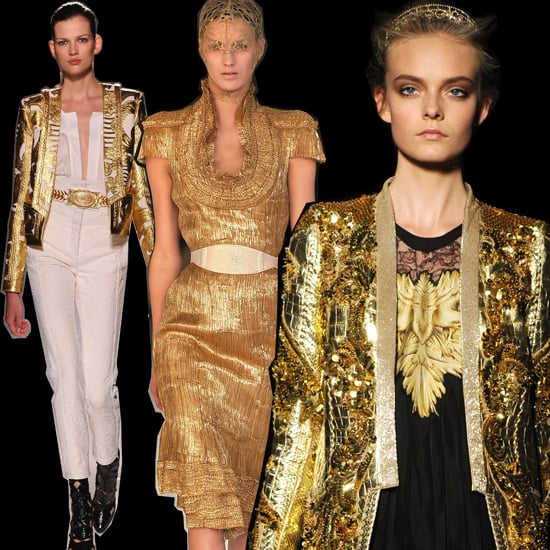 The runways of Spring 2012 featured plenty of shimmer. From left to right, gilded looks from the Balmain, Alexander McQueen, and Roberto Cavalli Spring 2012 shows.