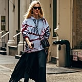 Rule 2: Balance Oversize Hoodies With Feminine Silhouettes, Like a Flowy Skirt