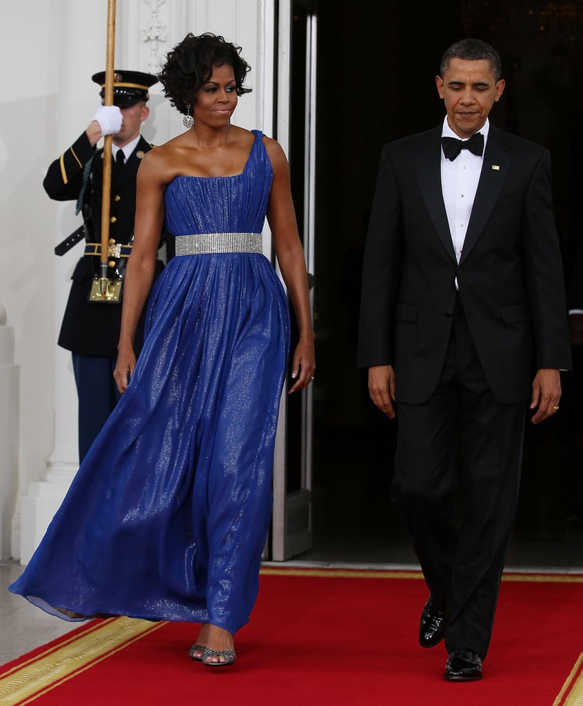 Wearing Peter Soronen at a state dinner with Mexican President Felipe Calderon and his wife, Margarita Zavala, in 2010.