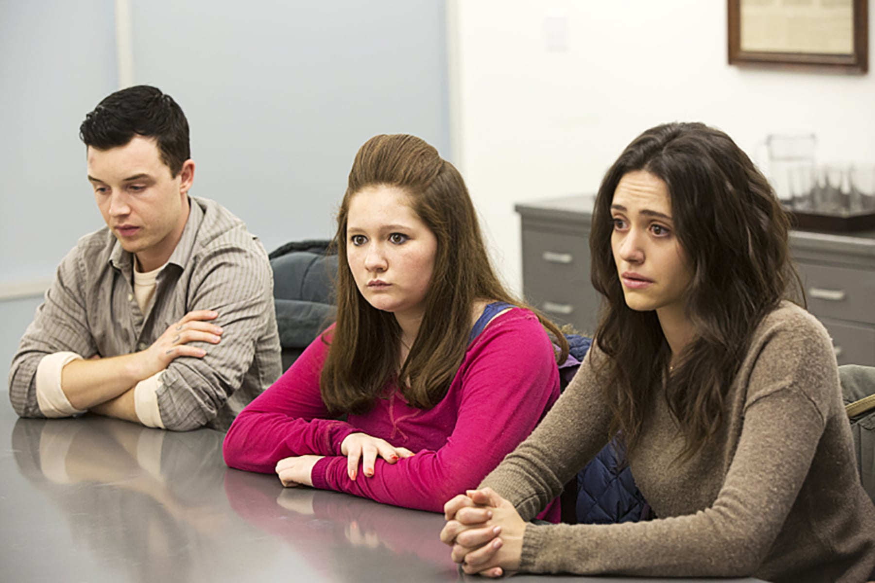 SHAMELESS, l-r: Noel Fisher, Emma Kenney, Emmy Rossum in 'Drugs Actually' (Season 5, Episode 11, aired March 29, 2015). ph: Monty Brinton/Showtime/courtesy Everett Collection